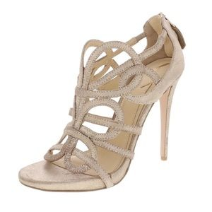 NEW Brian Atwood Tira Sandals Gold Heels